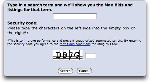 Overture Max Bids Tool