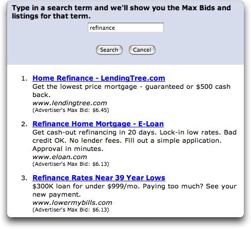 Overture Max Bids Tool: Refinance