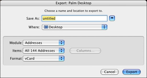 Mac Palm Desktop export window
