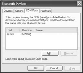 COM Ports tab in Windows Bluetooth setup dialog box for Palm Treo / Clie Internet Connection