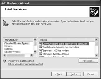 Add Hardware Wizard setup for Palm Treo / Clie Internet Connection