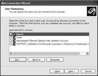 Selecting users to have access to Bluetooth for Palm Treo / Clie Internet Connection