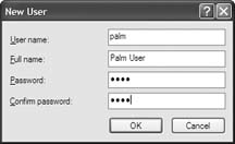 Adding a new user to Bluetooth for Palm Treo / Clie Internet Connection