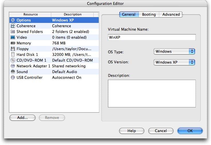 Parallels Configuration Editor (Mac OS X / Windows XP)