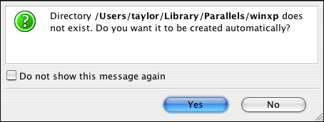 Parallels, New Virtual Machine Wizard, Directory Doesn't Exist
