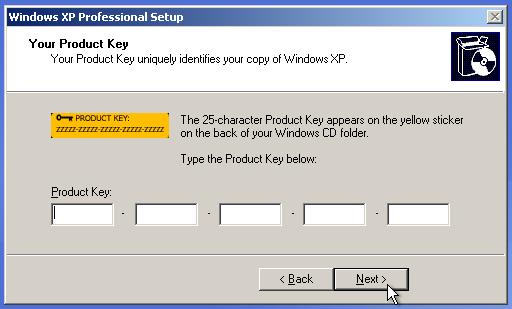 Parallels - Enter Windows XP Product Key