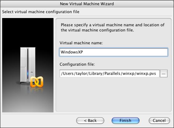 Parallels, New Virtual Machine Wizard, VM Name