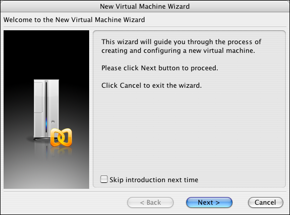 Parallels, New Virtual Machine Wizard