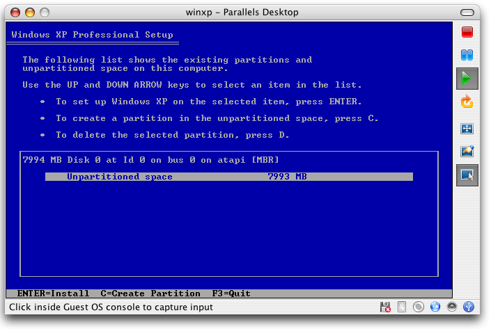 Parallels - Windows XP - Partition Choices