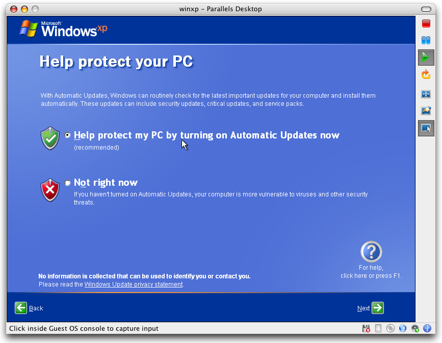 Parallels - Windows XP - Protect Your PC with Automatic Updates?