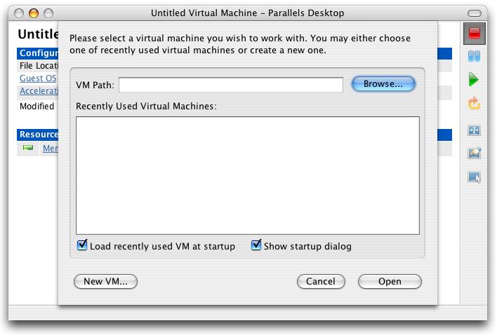 Parallels, Untitled Virtual Machine