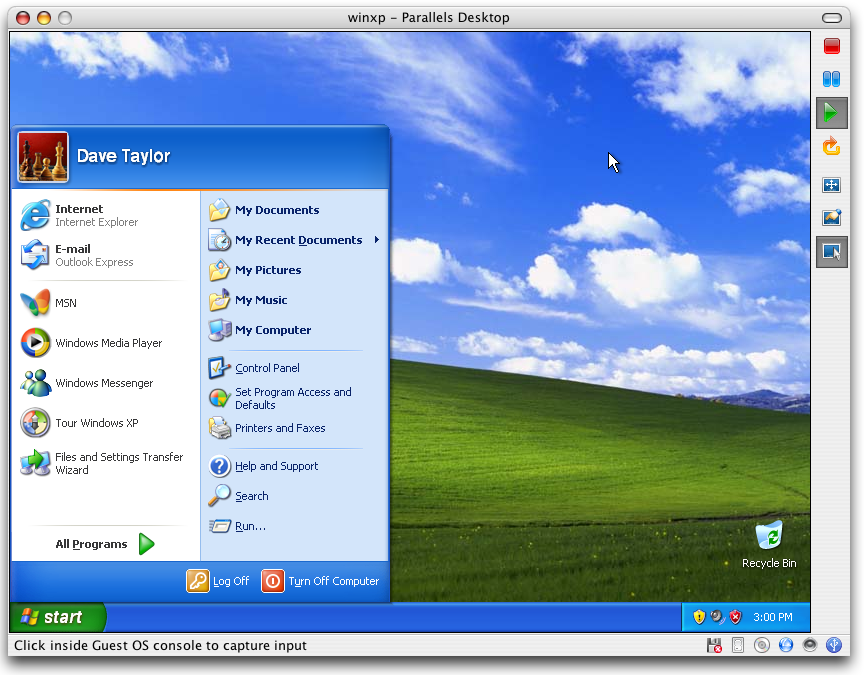 Parallels running Windows XP within Mac OS X