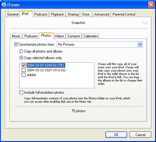 Apple's iTunes synchronizing photos with an Apple iPod on Windows XP