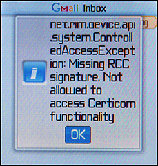 Cingular / T-Mobile Backberry Pearl with Gmail error: Missing RCC signature. Not allowed to access Certicom functionality.
