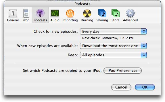 Podcast Preferences, iTunes