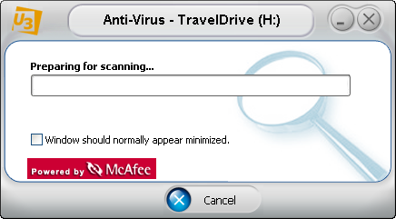 McAfee U3 software: Preparing for Scan