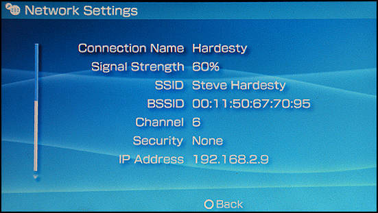 Sony PSP: Settings: Connection Success