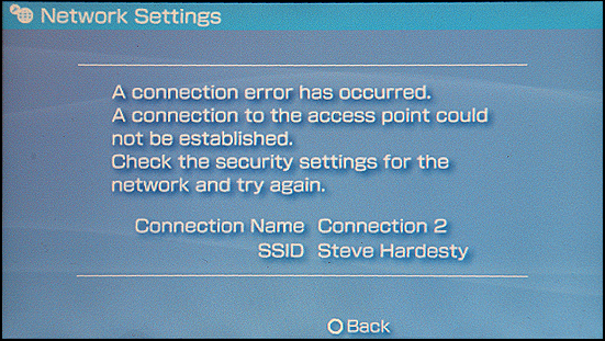 Sony PSP: Network Connection Error