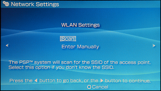 Sony PSP: Settings: Network Scan