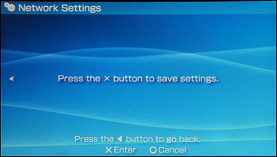 Sony PSP: Save Network Settings