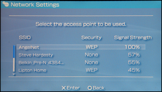 Sony PSP: Settings: Select Access Point