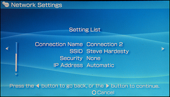 Sony PSP: Setting List