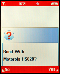 Motorola RAZR V3c: Bluetooth Bond With?