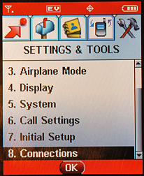 Motorola RAZR V3c: Settings and Tools