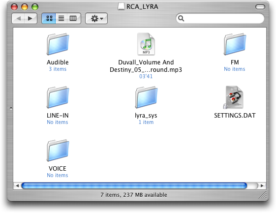 RCA Lyra MP3 Player as viewed in Mac Finder