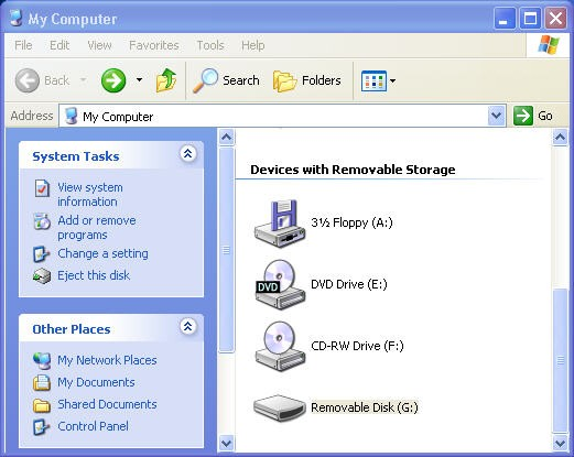 Sony PSP / Windows XP removable disk G: