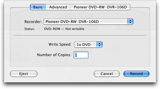 Roxio Toast 7 Titanium for Mac OS X: Copy DVD: Record