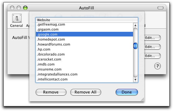 Mac OS X Apple Safari Browser: Autofill Preferences: by Website