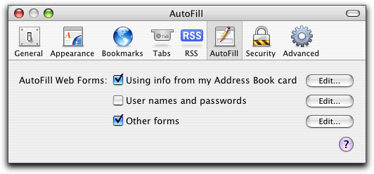 Mac OS X Apple Safari Browser: Autofill Preferences