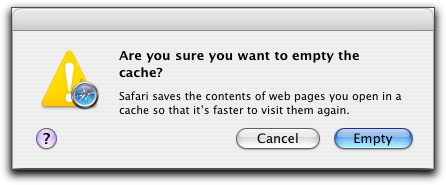 Mac OS X Apple Safari Browser: Empty Cache