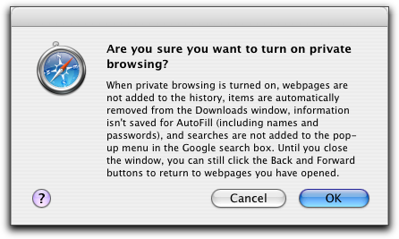 Mac OS X Apple Safari Browser: Private Browsing