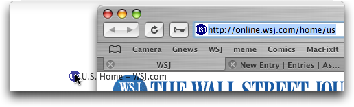 Safari in Mac OS X: Dragging URL from Address Bar to Create Shortcut
