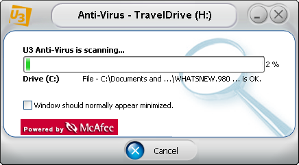 McAfee U3 software: Antivirus Scan in Progress