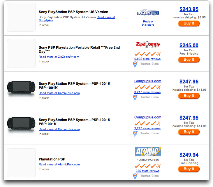 Shopping.com's matches for Sony PSP