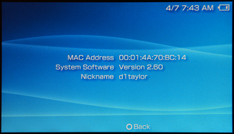 Sony PSP System Information Screen