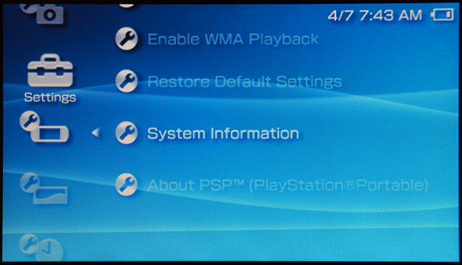 how to tell what version psp i have