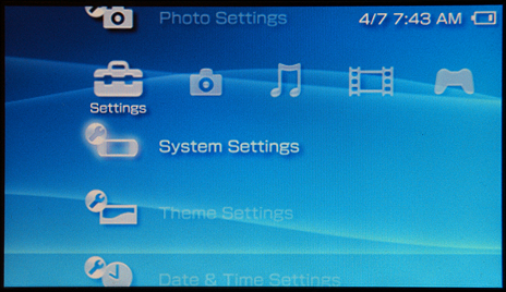 Sony PSP Help: System Settings