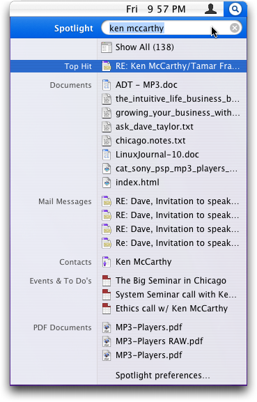 Spotlight Indexes Email Messages
