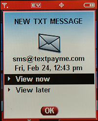 TextPayMe: SMS Text Message Received