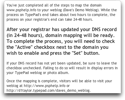 Typepad: Map a Domain Name: Configuration Complete
