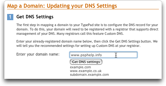 Typepad: Map a Domain Name: Entering a Domain Name