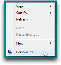 Windows Vista Desktop Contextual Menu -> Personalize&#8221; /></center><br /> You&#8217;ll want to choose &#8220;Personalize&#8221;, which then gives you a pretty impressive number of different choices, including the following:<br /> <center><img src=