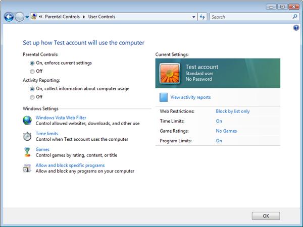Microsoft Windows Vista Parental Controls: Configuration