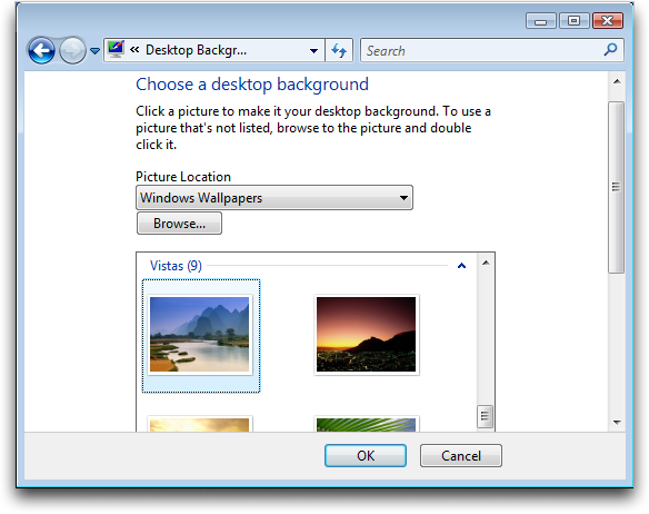 Windows Vista Personalization: Desktop Picture