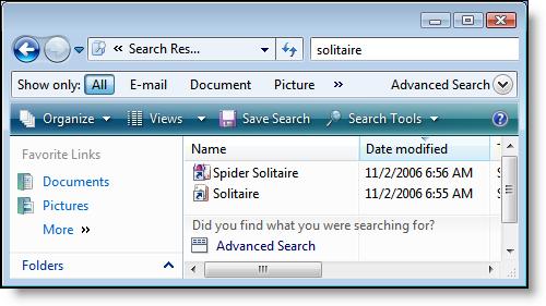 Windows Vista: Search: Solitaire