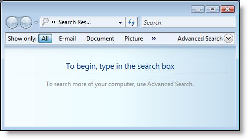 Windows Vista: Search Window